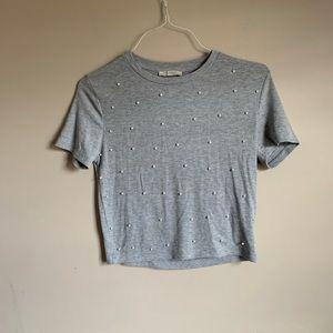 Zara size medium gray short sleeve sweater top